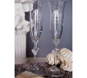 """Набор свадебных бокалов с вашим текстом """"Кольца"""" цена от 3 200 руб"""