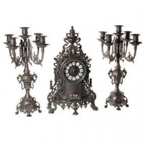 """Часы каминные и 2 канделябра """"Барокко"""" на 5 свечей, цвет антик цена от 37 100 руб"""