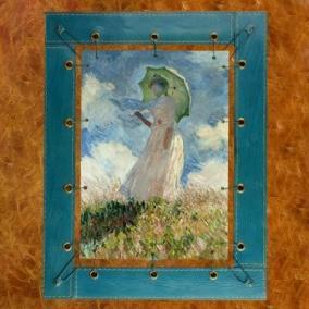 """Картина из кожи """"Дама с зонтиком"""" Моне, синяя от 7 200 руб"""