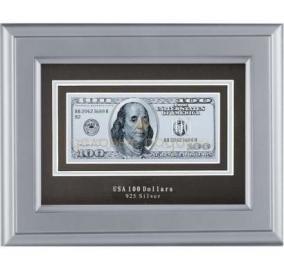 """Банкнота """"100 USD"""" в серебре цена от 5 550 руб"""
