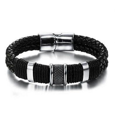 Мужские браслеты из кожи и серебра брендовые