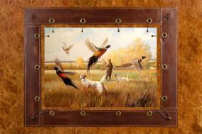 """Картина из кожи """"Охота на фазанов"""" А. Ж. Бруно цена от 7 200 руб"""