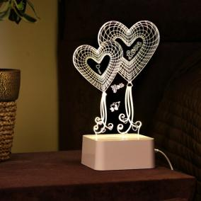"3D Лампа с сенсорной панелью ""Два сердца"" от 3 990 руб"