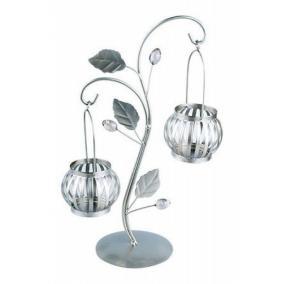 Подсвечник для 2-х свечей «Сказочный фонарик», 21х32 см, серебро цена от 574 руб
