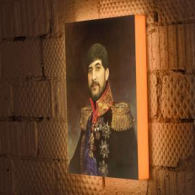 Мужской портрет в историческом стиле на дизайнерском 3D светильнике от 5 300 руб