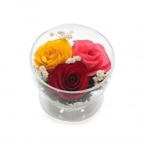 Композиция из красных, желтых и розовых роз (CuSr5с) цена от 750 руб