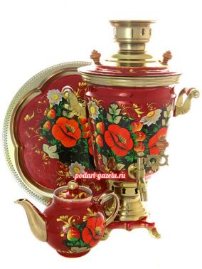 """Набор самовар электрический 4 литра с художественной росписью """"Маки на бордовом фоне"""" цена от 12 900 руб"""